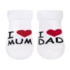 Kép 1/2 - Csecsemő frottír zokni New Baby fehér I Love Mum and Dad
