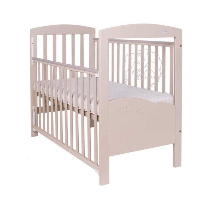 Krémszínű gyerek kiságy, rácsos ágy maci mintával
