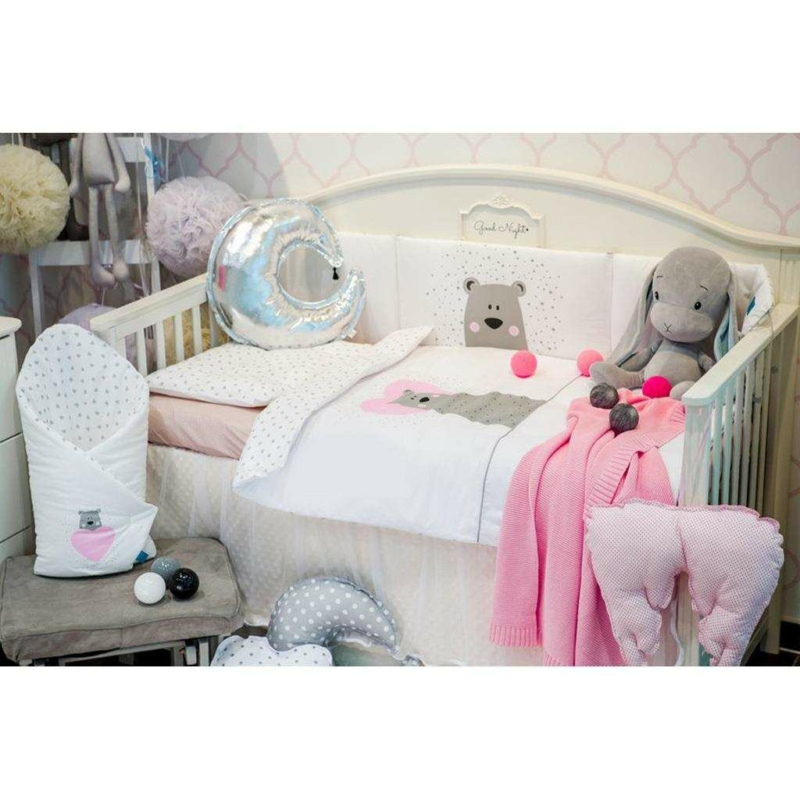 5 részes ágyneműhuzat Belisima Bear in love 90/120 rózsaszín