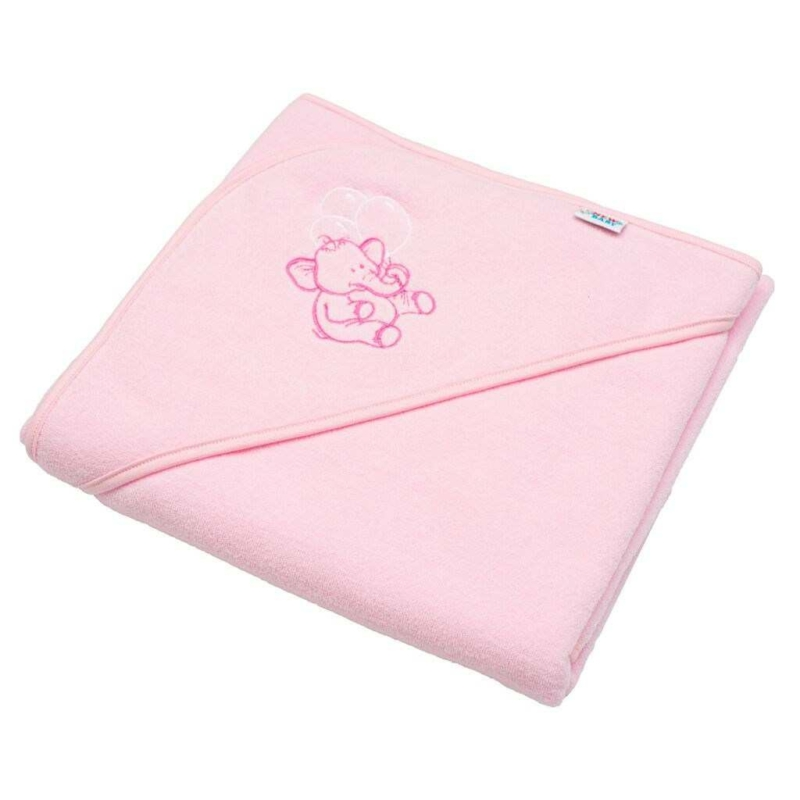 Gyermek frottír törölköző hímzett kapucnival New Baby 80x80 rózsaszín elefánt