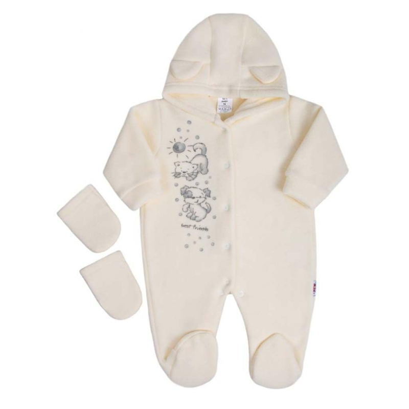 Fleece kezeslábas New Baby Barátok krémszínű